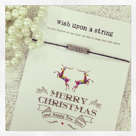Wish String Bracelet - Wish Bar Charm On Black String- Merry Christmas & Happy New Year